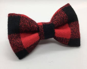 Red Buffalo Plaid Bow • Christmas Bow