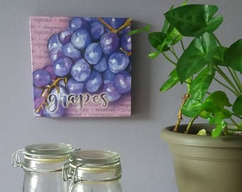 unique gift idea graphic grapes wrapped wood panel kitchen wall decor kitchen
