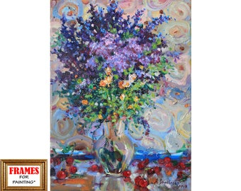 Flowers painting oil Wildflowers Still life IMPRESSIONISM Cherries art Gift for her Purple art Home decor Oil on canvas by A. Onipchenko