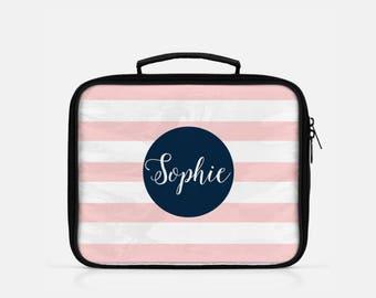 Striped Lunch Box, Stripes Lunch Box, Personalized Lunch Box, Preppy Lunch Box, Retro Lunch Box, Monogram Lunch Box, Custom Lunch Box