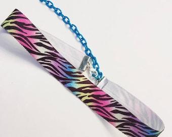Rainbow Zebra Print Dainty Choker Necklace