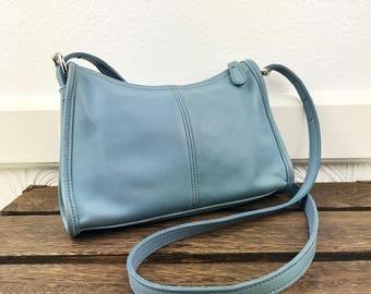 Coach 4104 Baby Blue Leather Crossbody Handbag Purse