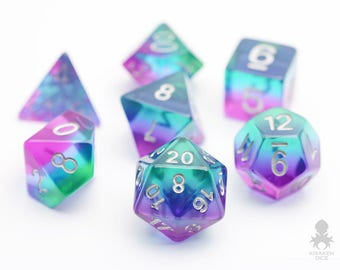 Mermaid Glass Dice Set, D&D, Dice Set, Dungeons and Dragons, Rainbow RPG Dice, Geek, Geeky, DND, geekery - Mermaid Glass (KD0038)