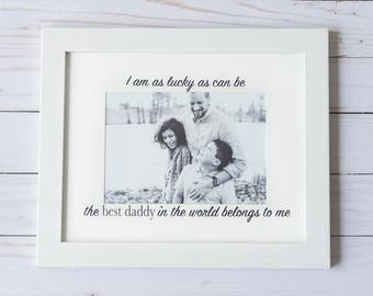Personalized Photo Frame. I am as Lucky as Can Be Picture Frame with Insert and Quote,  Birthday Gift for Him or Her, Moms and Dads