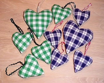 Small fabric heart, 10 pieces