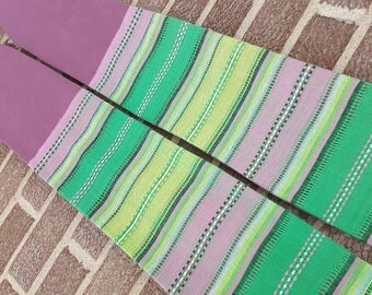 Purple clergy stole with striped green accent fabric for pastor, priest or minister for advent or lent