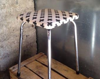 Re-upholstered vintage stool