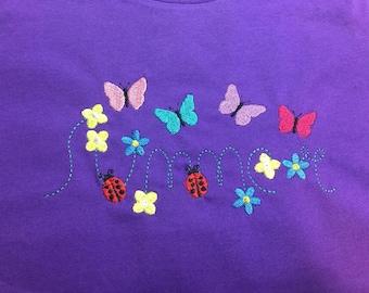 summer butterflies ladybugs and flowers t-shirt