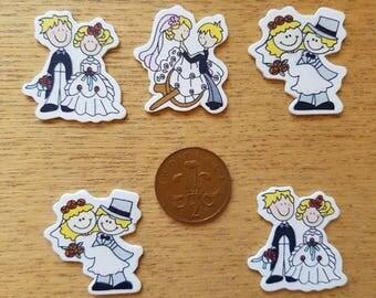 Set of 5 wooden flatback wedding couples