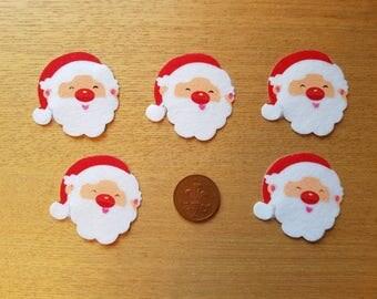 5 felt santa stickers