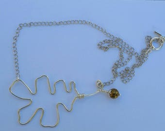Oak leaf and acorn design necklace, silver plated with pyrite