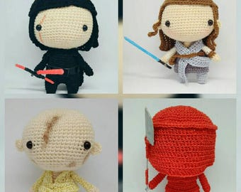 Star Wars Last Jedi Amigurumi, king, Kylo Ren, Snoke, Praetorian guard, Star Wars Amigurumi, Rey Amigurumi, Kylo Ren Amigurumi, Snoke