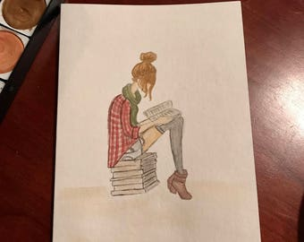 Lost in a Book - Watercolor