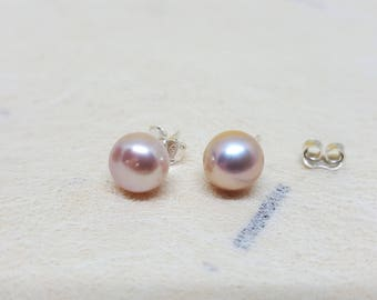 Freshwater Pearls 8mm Studs / 0.31inch Pastel Light Purpleish Pink Round button Earrings - Sterling Silver LUSTER button Freshwater Pearl