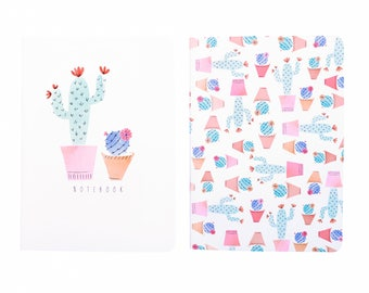 Cacti Notebook Set Pink A6