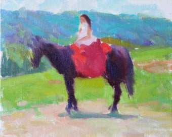 Impressionist Painting 8x10 Original Impressionist Oil Painting Girl on a Horse with Red Saddle In the Hills Impressionist Art Impressionism