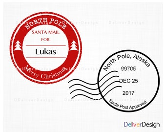 Personalized Christmas Postmark Stamps SVG, PNG Files