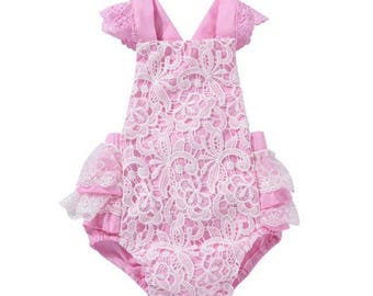 Pink Infant Lace Romper