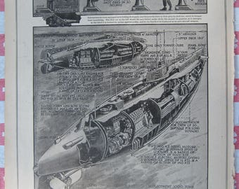 1920–Trouble Making Submarine- from Leslie's Photographic Review of The Great War (WW I), Vintage, Rare Account of World War I