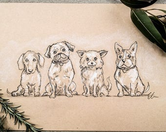 Four Small Dogs Print