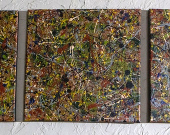 Triptych painting 3. Original abstract art Jackson Pollack inspired