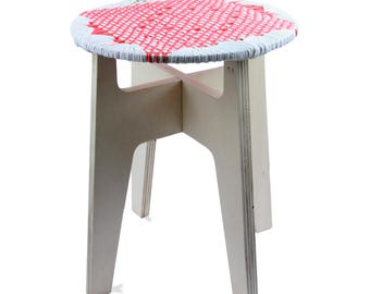 Stool/seat hand woven e u003e u003e Maillestool #corail - white / weaving    sc 1 st  Etsy & Woven seat stool | Etsy islam-shia.org