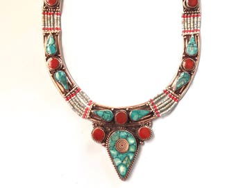 Turquoise bib Necklace, Tibetan Necklace, Statement Necklace, Bohemian necklace, Tibetan jewelry,Nepalese jewelry, Tribal