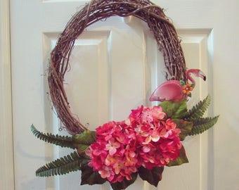 SALE! Summer wreath. Front door wreath. Tropical wreath. Flamingo wreath. Summer decor. Hawaiian wreath. Wreath for front door.