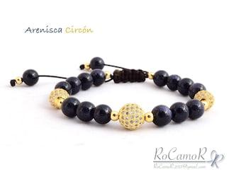 #RoCamoR bracelet with aventurine and metal rodinado with zircons
