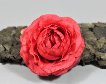 Vintage inspired rockabilly flower/Hairflower Ranunculus red