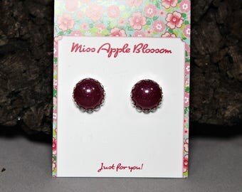 Vintage inspired round epoxy earrings mini Bordeaux with glitter