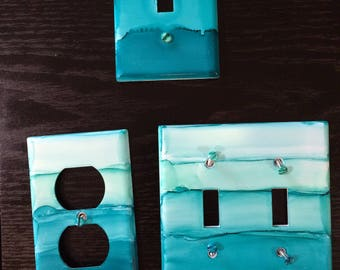 Alcohol Ink Switch Plate and Outlet Set