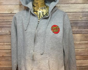 Santa Cruz Zip Up Hoodie Sweatshirt (L)