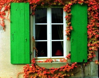 Swiss Window with Green Shutters and Red Foliage. Bright Color Photograph
