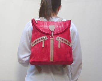 Linen and leather backpack. Red backpack.
