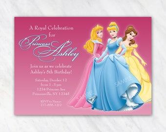 Disney Princess Invitation for Birthday Party - Aurora Sleeping Beauty, Cinderella, Belle - Printable Digital File