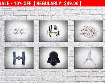 Set of 6 Star Wars prints, Star Wars, boys room decor, kids room art, Star wars print, Star wars decor, Star wars Art, star wars poster