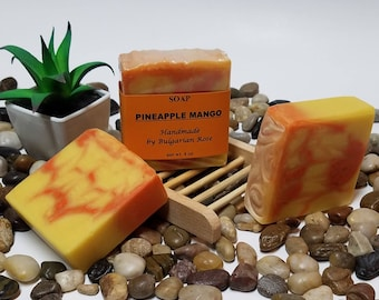 Pineapple Mango Soap, Vegan Soap, Handmade Soap, Artisan Soap, Cold Process Soap, Gifts for Her, Gifts for Him, Pineapple Soap, 4 oz