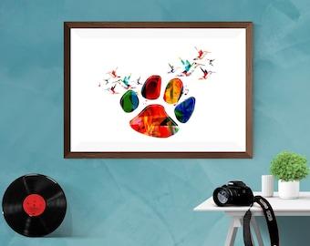 Abstract Colorful Paw design with hummingbirds Artwork Print Poster Matt / Silk