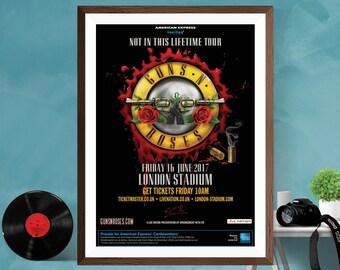 Guns N' Roses Rock Music Tour Print Poster , Axl Rose , Slash Music Wall Art Home decor Guns n Roses Canvas/Matt/Silk A4/A3/A2 Active