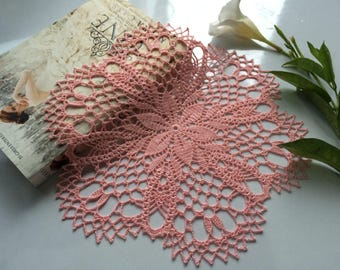 Pink lace doily, Crochet doily, Table Topper, Housewarming gift, Home decor, Wedding doily, Hand crochet item, Wedding decor