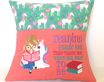 Unicorn Reading Pocket Pillow - Reading Pillow, Pocket Pillow, Reading is the Magic Key that takes you where you want to be
