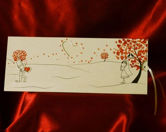Romantic Wedding Invitation Card, Animated Wedding Invitations with Newlyweds, Personalized Printing, Free Shipping