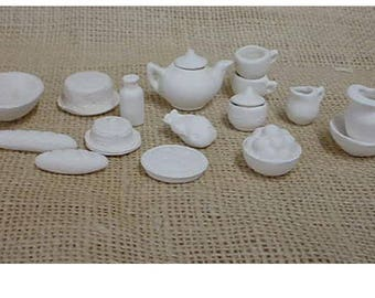 Miniature  dishes and food for doll houses or fairy houses