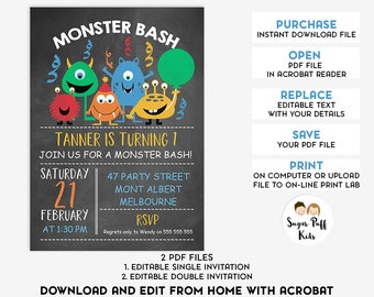 Editable Monsters Boys Birthday Invitation, Instant Download Editable Monsters Birthday Invitation, Monsters Birthday Invitation Editable
