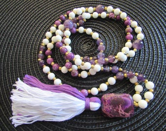 Amethyst, Jasper and Alabaster 108 Mala