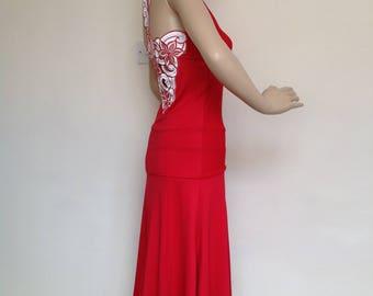 Argentine tango skirt in red, medium size