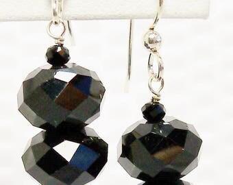 Black Crystal Earrings, Black Chinese Crystal Earrings, Jet Black Crystal Jewelry, Handmade, Crystal Earrings, Black Crystal, Black Earrings