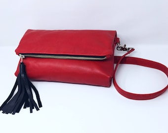 Leather Foldover Crossbody Bag - Leather Bag, Leather Foldover Bag, Red Leather Bag, Jenni's Experiment