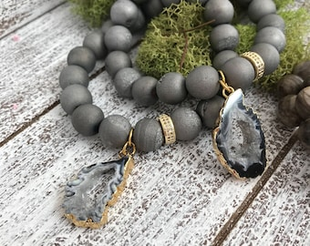 Stone Mala Bead Bracelet